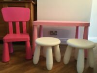 Ikea Plastic Table with 1 chair & 2 stools