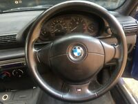 BMW E36 M-TECH M3 SPORT STEERING WHEEL + AIRBAG, TRI-COLOUR M-TECHNIC STITCHING
