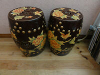 Pair of Old Chinese Ceramic Stool or Pants Stands Must be seen Beautiful