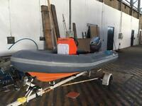 Avon searider 4m inflatable rib, 50hp mariner outboard and trailer