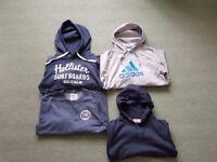 4 Mens Hoodie/Sweatshirt (Hollister, Adidas, J&J, Penguin), Size Medium, check description
