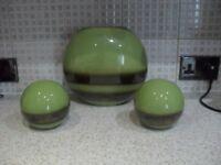 Three Green/Bronze Ornaments