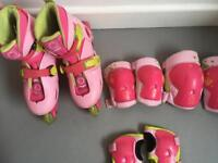 Kids inline skates (11.5-13) with knee, elbow and wrist protectors.