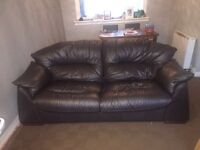 Brown 3. seater couch, chair and footstool