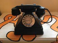 Vintage 1950's Black Bakelite Dial Telephone.
