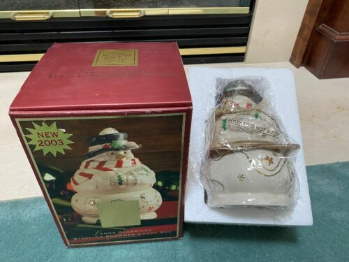 """2003 LENOX OCCASIONS  Stacking  Snowman Candy Box Dish / 5"""" x 5"""" x 7"""" tall"""
