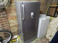 Samsung Fridge, free standing with small freezer and water compartment. Silver/grey