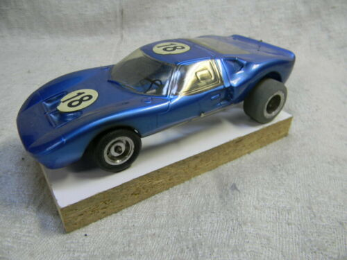 1/24 SCALE VINTAGE 1966 FORD GT40 LEMANS RACE CAR COMPETITION BLUE SLOT CAR