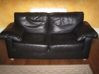 2 Black Leather Sofas - Sofabed / 2 & 3 seater