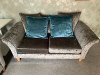 DFS Crushed velvet three and two seater sofas in silver with cushions