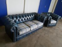 ANTIQUE BLUE LEATHER CHESTERFIELD LOUNGE SUITE / 3 SEATER SOFA & CLUB CHAIR / ARMCHAIR CAN DELIVER