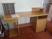 Free desk with drawer, cabinet + CD rack-Very good condition (instructions included) - Pick up only