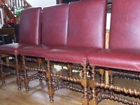 DINING CHAIRS SET OF 4 HIGH BACK BARLEY TWIST OAK AND STUDDED LEATHER TOPS FREE EDINBURGH DELIVERY