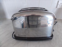 Russell Hobbs two slice toaster, silver, wide slots, with bun warmer