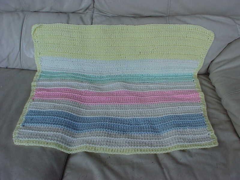 "Handmade Crochet striped Newborn Baby Blanket Afghan 25"" X 25"""