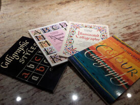 Calligraphy quality layout and parchment papers, books/style guides, used, very good condition.