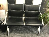 TO BE SOLD ASAP Black Leather & Chrome 2 seater Reception Sofa from Arrow Office Excellent condition