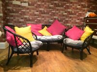 3 PIECE WICKER SET WITH CUSHIONS - CAN DELIVER