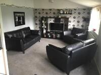 3 piece real black leather suite