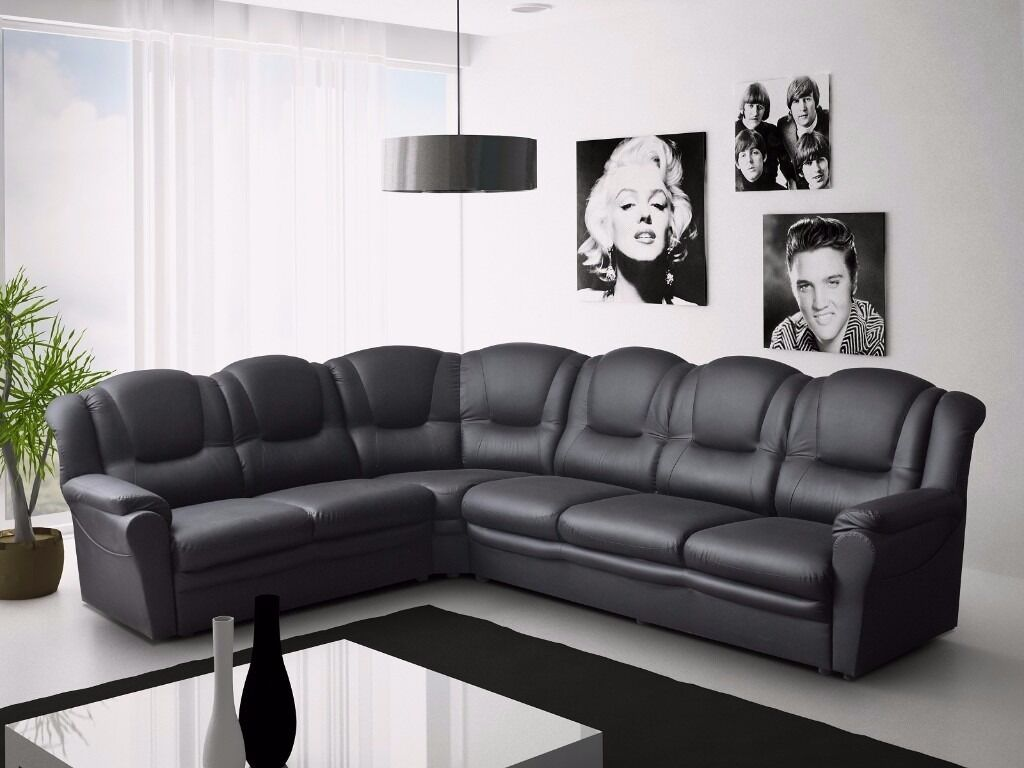 Brand new texas 7 seater sofas available in brown black for Black corner sofa