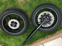 2010 Kawasaki Zx10r wheels front and back fully complete with tyres wavey discs 2008 2009 ninja