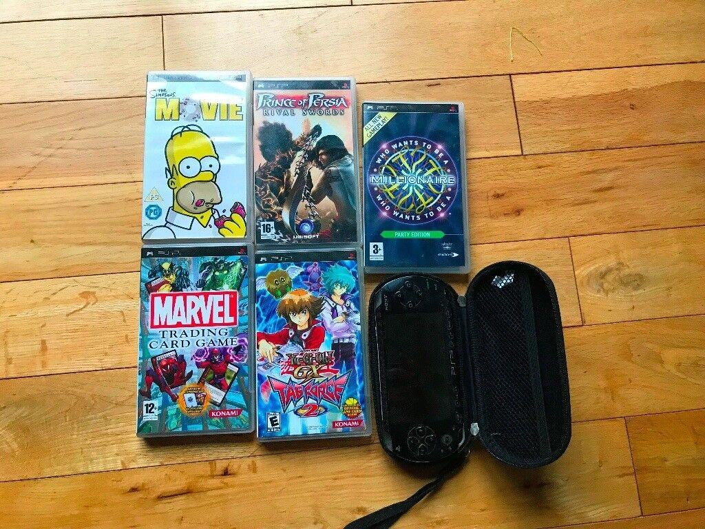PSP Console With 9 Games 2 UMD Movies And Case Plug Car Charger