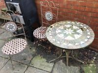 Garden round Table and 2 Chairs