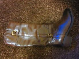 NEW Hush Puppies knee length brown leather boots Size 6. £35