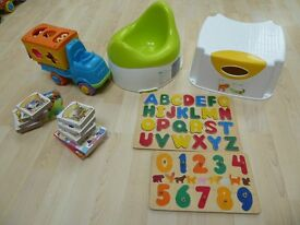 "Step stool, Mothercare potty, wooden alphabet & number puzzles, 12 first books & ""shapes"" van"