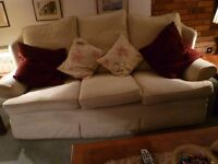 Cream 3 piece suite. 3 seater settee & 2 armchairs. High backs. Removeable cushions