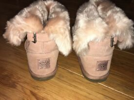 Girls Pink Faux Suede & Fur NEXT Boots size 1