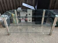 """Strong clear glass TV unit 3 shelves holds up to""""55"""" TV very good condition"""