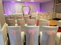 Chair cover hire from £1 including sash bows, wedding decoration hire..