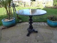 MARBLE TOP WITH CAST IRON BASE , GARDEN TABLE --