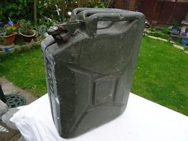 vintage 1967 Army Jerry can with army insignia impressed on it