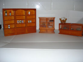 Reduced and priced to sell: Three lovely display cabinets for your dolls house or shop