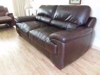 3 seater dark brown leather sofa in excellent condition. no rips or tears