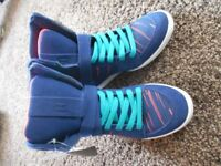 Blue/red high top wedge DC shoes
