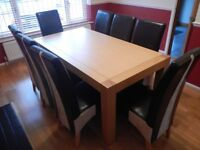 Dining table (95x180) with 8 chairs