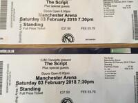 Script tickets Manchester 3rd February standing