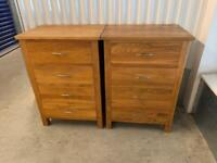 2 English Solid Oak bedside tables drawers