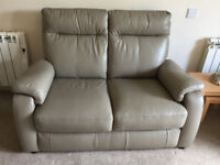 3 Piece Leather Suite Taupe Colour inc one electric recliner chair