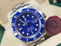 New boxed with papers 40mm silver bracelet blue dial blue ceramic bezel Rolex submariner watch Auto