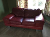 Red leather two seater sofa - CSL