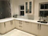 Solid surface bench and under mount sink
