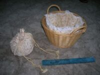 Nursery changing basket with pretty liner and matching bag
