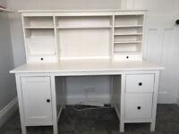 White office desk - IKEA Hemnes with add-on unit