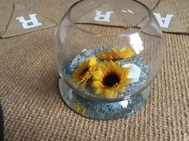 Wedding fish bowls centrepieces