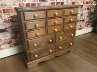 Cute small solid pine medical cabinet/chest of drawers!