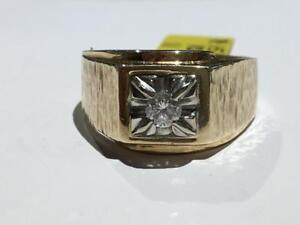 #1517 10K MENS YELLOW & WHITE GOLD DIAMOND SOLITAIRE 0.24CT! *SIZE 11* JUST BACK FROM APPRAISAL AT $2350.00!